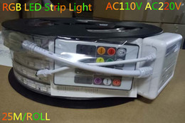 Wholesale High Power Green Led - AC110 AC220 LED Strip Light High Voltage LED Flexible Strip Lights SMD5050 Single Color RGB LED Light With Power Cable 25M Roll 60LEDS