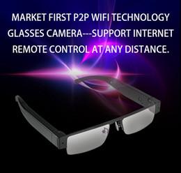 Wholesale Home Digital Video Recorder - HD 1080P Eyewear Hidden IP camera wireless WIFI glasses spy Camera digital voice video recorder home office security camera