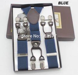 Wholesale Apparel Boxes Red - Wholesale-2016 blue 6 Clips suspenders fashion braces gift box Adjustable man woman suspenders Birthday Gift Wedding apparel accessories