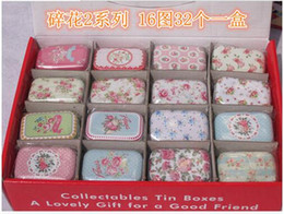 Wholesale Vintage Tin Storage Box - Children's stationery M51-118 New vintage small flowers series quality iron case   storage case   tin box  32 pcs per lotdandys