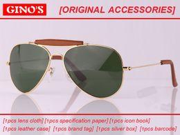 Wholesale Leather Framed Glasses - 2017 New PU leather bridge aviation pilot uv400 sunglasses men brand designer unisex G15 lens women da sole eyewear sunglass gafas