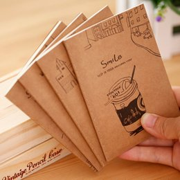Wholesale Paper Memo Pads - Wholesale- 4 Styles Kawaii Vintage Notebook Journal Diary Notepad Soft Copybook Memos Pads Cute Stationery School Office Supplies Papelaria