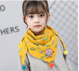Wholesale Toddler Neck Scarves - Baby Kid Cute Scarf With Pom Pom Toddler Girl Boy Neck Wraps 11 Colors Available Back to School