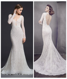 Wholesale Chantilly Lace Gown - Ivory Chantilly Lace Mermaid Wedding Dress Sheer Long Sleeves Open Back Bridal Gowns Floral Appliques Wedding Gowns