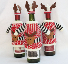 Wholesale Fashion Home Parties - 2017 New Fashion Xmas Deer Knitted Red Wine Bottle Cover Bags Deer sweater Christmas Decoration Supplies Home Party Santa Claus Christmas