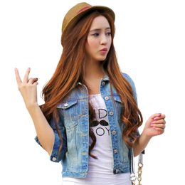 Wholesale Shorts Jeans For Women - Women Jeans Jackets Short Tops 2016 Spring Autumn Long Sleeve Denim Coat Ripped For Women Clothing Chaquetas Mujer