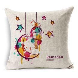 Wholesale Lantern Moon - Mid East Ramadan Kareem Eid Mubarak Cushion Covers Watercolor Painting Moon Stars Lantern Mosque Cushion Cover Sofa Beige Linen Pillow Case