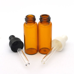 Wholesale Perfume 5ml - 5ml Amber Glass Bottle Essential Oil Bottle Perfume Sample Tubes Clear Pure Glass Dropper Vials Free Shipping