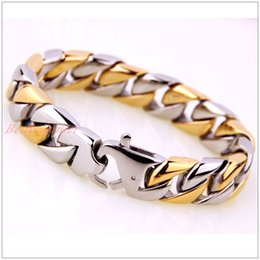 "Wholesale Mens Silver Curb Bracelet - 8.46"" Top Quanlity 316L Stainless Steel Silver&Gold Bracelet Curb Cuban Chain Women Mens Popular Gift 15mm Width"