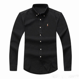 Wholesale Pure Cotton Clothing - POLO Wholesale 2018 autumn and winter men's long-sleeved Dress shirt pure men's casual POLO shirt fashion Oxford shirt social brand clothing