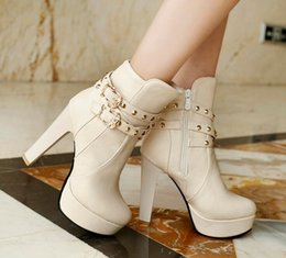 Wholesale European Buckle Boots - Sexy high-heeled shoes women's shoes Thick with waterproof boots in Rome The European and American fashion belt buckle Martin boots