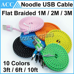 Wholesale Noodle Micro Usb Cable - Micro USB Cable 1M 2M 3M 3ft 6ft 10ft Lengthed Flat Noodle Braided USB Data Cable Woven Charging Cord Charger Line For Samsung HTC 100pcs