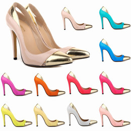 Wholesale High Heels Pink Glitter Platform - Zapatos Mujer Women's Pointe Toe Patent High Heel Stilettos Platform Sexy Pumps Shoes US 4-11 Mixed Color D0076