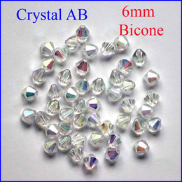 Wholesale Crystal White Glass 6mm - Wholesale AB Color 6mm 200pcs Lot 6 MM Bicone Beads Glass Crystal Beads 20Colors In Stock 5301 Cystal Glass Beads Bicone