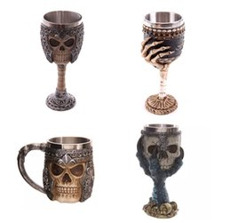 Wholesale 3d Glasses China - Resin Stainless Steel Drinking Mug 3D Multi Skull & Spine Goblet Horror Decor Cup for Halloween Bar Party Red Wine Glass 200ml Free Shipping