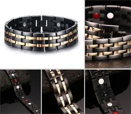 Wholesale Wide Gold Plated Mens Bracelet - 22.6CM Health Mens Hand Chain Black Double Row Gold Color Bio Magnetic Bracelet 15mm Wide Stainless Steel Bracelets For Man Gifts B829S