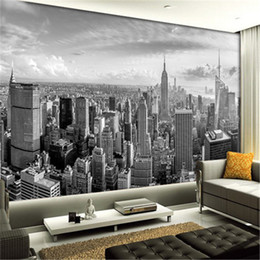 Wholesale Building Murals - 5D Papel Murals New York City Building scenery black&white 3D photo mural wallpaper for living room background 3d wall mural
