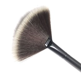 Wholesale Cosmetic Fan Brushes Wholesale - Black And Brown New Pro Fan Shape Makeup Cosmetic Brushes Blending Highlighter Contour Face Powder Beauty Tools HH-B06
