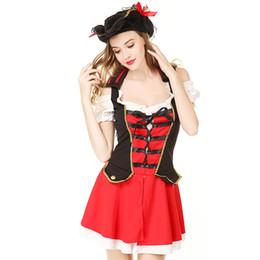 Al por mayor-Sexy Pirata Cosplay Disfraz Sexy School Girl Disfraces Fancy Disfraces de Halloween Cosplay pirata vestido Sexy Set para mujeres con sombrero desde fabricantes