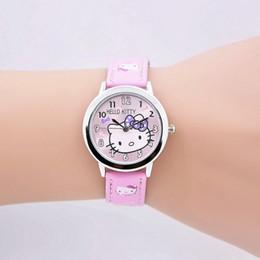 Correa de reloj del niño online-Estudiantes de los niños de moda Chica Hello kitty KT cat estilo correa de cuero reloj de pulsera