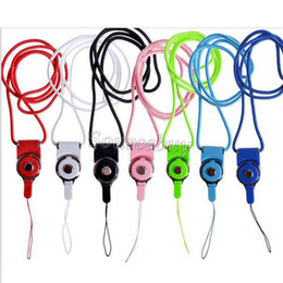 Wholesale Apple Ipad Camera - 100pcs Hot Sale Rotatable Detachable Ring Neck Strap Lanyard Long Desingh Hang Rope for Mobile Phone Camera iPad mp3 mp4 Buckle Plastic Rope