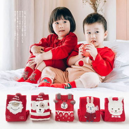 Wholesale Little Trees Wholesale - Xmas kids Clothing Baby girl leggings socks Cartoon Santa clothes socks cute Christmas Gift little Tree Snow Cotton Sock For Kids A7660