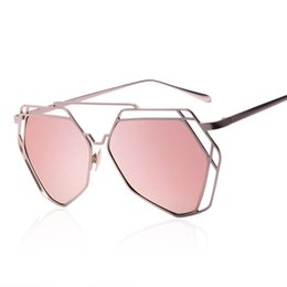 Wholesale Golden Geometry - New Brand Design Women Cat Eye Sunglasses Mirror Glasses Ladies Sun Glasses Luxury Geometry Twin-Beams Alloys Frame 5 Colors