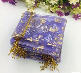Wholesale Organza Butterflies Purple - SIZE about 10*12cm Organza purple butterfly gold gauze bag gift gauze bag first jewelry bag bag bag bag 100pcs lot free shipping WQ25