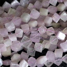 "Wholesale Flower Loose Diamonds - Wholesale Natural Genuine Purple Pink Kunzite Spodumene Diamond shape Loose Beads Fit Jewelry DIY Necklace 16"" 04126"