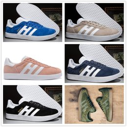 Wholesale Suede Shoes Casual Woman - Top Quaity Wholesale 2017 Men Women Casual Spring Summer Suede Gazelle Racer Black Red Grey Orange Lightweght Breathable Walking Shoes 36-44