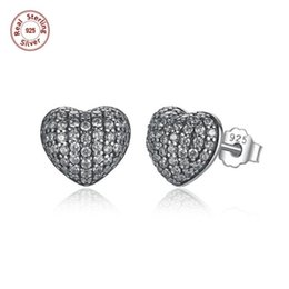 Wholesale Earrings Silver 925 Diy - 3 Pairs Authentic 100% 925 Sterling Silver Stud Earrings Heart With White Clear CZ Pave Setting Wedding Earrings DIY Jewelry S444