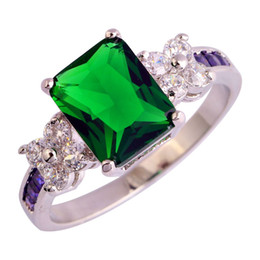 Wholesale Gold White Ring Women Emerald - Wholesale Green Emerald Quartz Size 7 8 9 10 18K White Gold Plated Silver Rings Women Jewelry Free Shipping