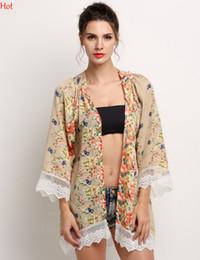 Wholesale Half Sleeve Chiffon Blouse - Fashion Women Chiffon Kimono Cardigan Hollow Lace Rim Shawl Regular Floral Print Blouse Half Bat Sleeve Sun Shirts Ladies Clothing EU001014
