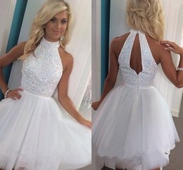 Wholesale Cheap Sequin Dresses Plus Size - 100% Real Image White Tulle Short Homecoming Dresses High Neck Crystal Summer Short Party Dresses Keyhole Back Cheap Homecoming Dress
