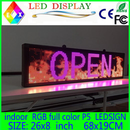 "Wholesale Scrolling Led Display Sign - Free shipping 26""x 8"" Programmable LED Scrolling Message Display Sign led panel Indoor Board P5 full color"
