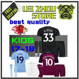 Wholesale Kids Walkers - 2017 18 kids Man City home KUN AGUERO soccer Jersey Kits STERLING Walker DE BRUYNE GUNDOGAN away Sane Bernardo child Football G.JESUS third