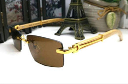 72df0ae047b France Designer Wood Sunglasses Rimless Buffalo Horn Glasses Brand Sunglasses  For Men Women Gold Wood Glasses Eyewear Frames