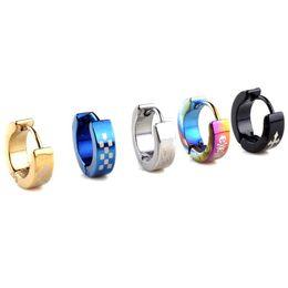 Wholesale Earring 316l Mix - 2 Pairs 316L Stainless Steel Earrings Huggies 2017 Punk Women Men Earrings Party Jewelry 3-4mm Width Mix colors [E203-E205,E206 M*5]