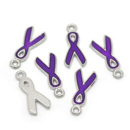 Wholesale Enamel Awareness Charms - Zinc Alloy Enamel Purple Ribbon Awareness Charms Pendants 20x9mm,100PCs