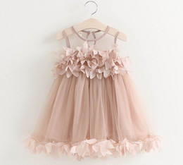 Wholesale Fairy Style Dresses - 2017 Summer New Girl Fairy Dress Petal Fluffy Gauze Dress Sundress Children Clothes 2-6Y GE519