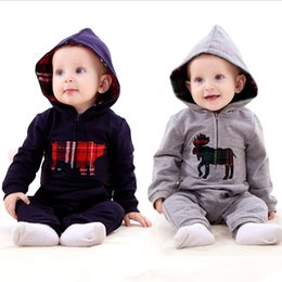 Wholesale British Style Jumpsuit - Wholesale- Infant baby boy clothing spring British style baby romper Jumpsuit hooded climb clothes baby clothes