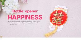 "Wholesale Chinese Wholesalers Souvenirs - Double Happiness Beer Bottle Opener Golden Chinese Style ""Happy"" Word Opener Wedding Favors Gifts For Guest Souvenirs"