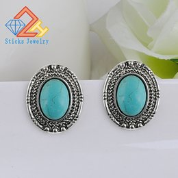 Wholesale Earring Needles - New Lady (1pair   lot) Oval Alloy Turquoise Earrings   Ear Needles Heavy Drop Shipping