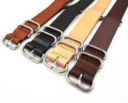 Wholesale Nato Straps - Wholesale-1PCS High quality 18MM 20MM 22MM 24MM Nato strap genuine cow leather Watch band NATO straps zulu strap watch strap