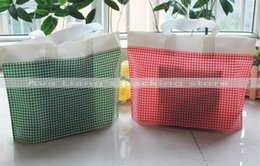 Wholesale Printed Plastic Grocery Bags - 55*45cm 50*40cm 50pcs red and green grid print market shopping carry bags  Grocery carry bags  plastic handle shopping pack bags