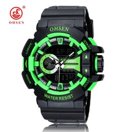 Wholesale Dive Watch Men Rubber Band - Top Sale OHSEN Brand Digital Quartz Mens Man Wristwatches 50M Dive Rubber Band Green Fashion Popular LCD Sports Male Military Watches Gift