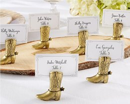 Wholesale Place Boots - By DHL Free 200pcs Lot Golden Cowboy Boot Place Card Holder Table Centerpiece Wedding&Bridal Shower Favors Seat Number Holders