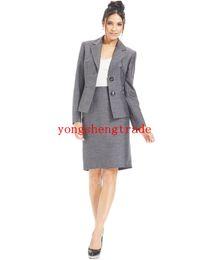 Wholesale Dark Blue Wool Skirt - Custom Made Woman Suit Grey Women Suit Plus Suit Grey Blazer & Plus Pencil Skirt Notched Lapels Welt Pockets HS7941