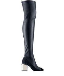 Cadenas de muslo online-Fashionville * u684 40/41 genuina cadena de estiramiento del muslo de cuero altas botas por encima de las rodillas en blanco y negro