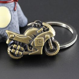 Wholesale Motorcycle Racing Keychain - Small 3D metal motorcycle racing car keychain Gentleman personality simulation model car key ring Retro key chain keychain2016